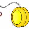 illustrations of yo-yos of varying colors. A yo-yo is a round toy with two flat sides with a string attached to its center axle.