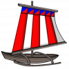 illustration of a vinta, a traditional boat frequently used by Moros and Badjaos in the southern island of Mindanao, Philippines