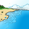A colored illustration of a seashore.