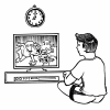 An illustration of of a boy watching television.