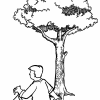 An illustration of a man sitting beside a tree.