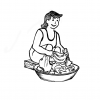 An illustration of woman washing clothes.