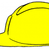 An illustration of a hard hat, a type of hat that is made of a strong material to protect the head from injury due to falling objects and impact with other objects.